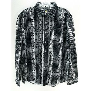 Avirex Textured Striped Button Down Shirt M